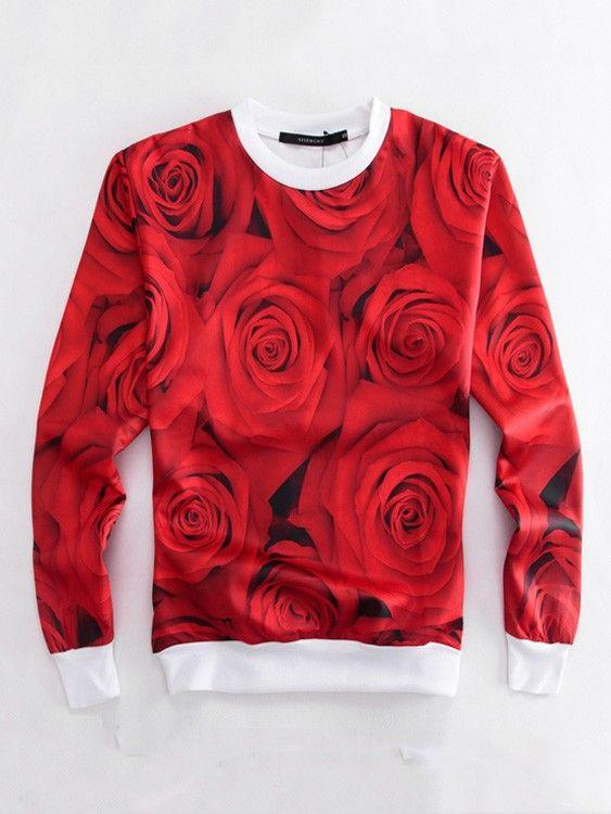 Red Emoji Sweatshirts Rose Emoji Printed Leisure Sweater for Men/Women