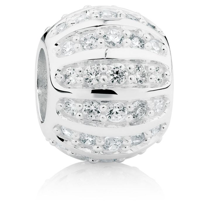 Add glitter and shine to your bracelet with this cubic zirconia charm. Crafted from sterling silver, the simple yet eye-catching design is pave set with white cubic zirconias and makes a versatile addition to your look. Exclusive to Emma & Roe.