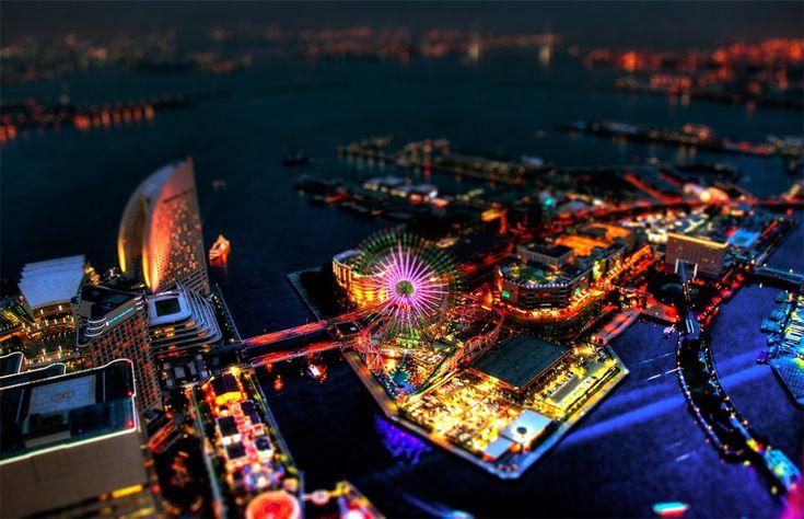 tilt shift yokohamaJapan, Colors, Amusement Parks, Travel, Places, Yokohama, Tiltshift, Photography, Tilt Shift