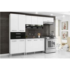 Cozinha Compacta Julia com Porta de Vidro Paneleiro Duplo Armário Refrigerador e Balcão