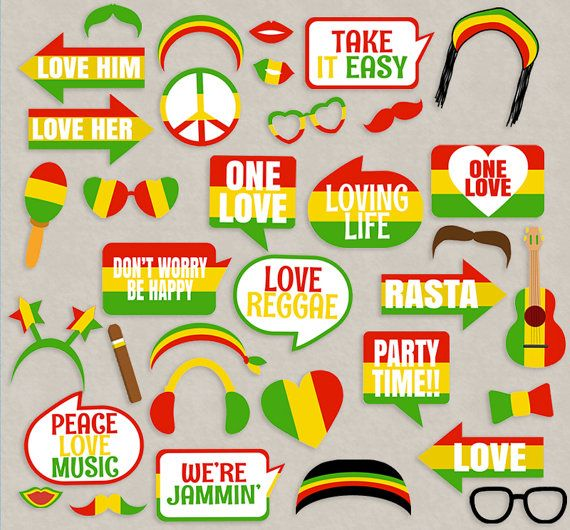 35 Reggae Props Printables, Reggae photo booth props, rasta theme party decor…