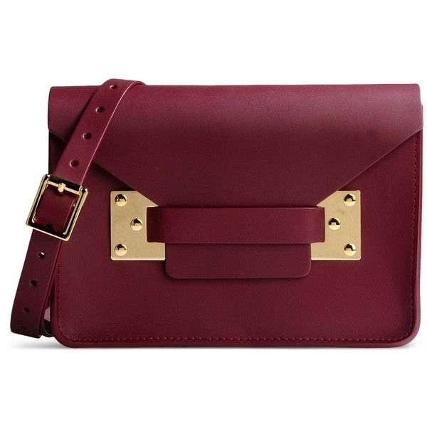 Sophie Hulme Clutch ($535) ❤ liked on Polyvore featuring bags, handbags, clutches, maroon, mini pochette, red leather purse, red leather handbag, red clutches and real leather purses