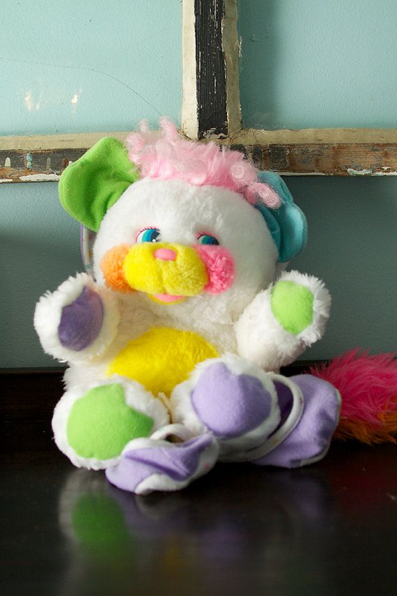 Vintage Popple Baby Cribsy Bibsy Plush Stuffed Animal with Rattle
