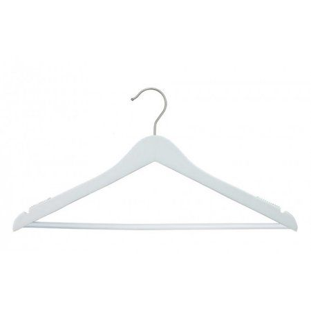 Wooden Suit Hangers - Nahanco Line - 17 inch Low Gloss White - Home Use