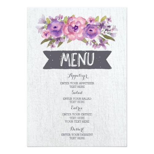 Watercolor Wedding Menus Vintage Purple Watercolor Flowers Wedding Menu Card