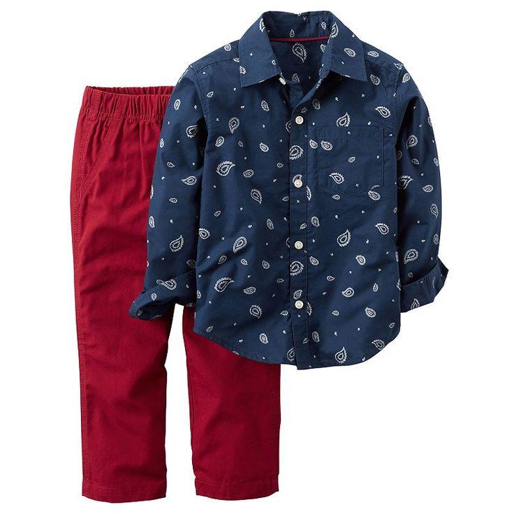 Toddler Boy Carter's Paisley Bandana Print Button-Down Shirt & Red Pants Set, Size: