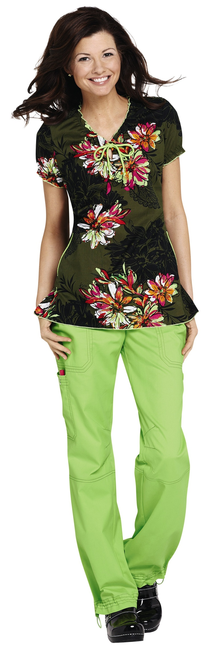 NEW- we love the colors in this Koi Bridgette Serpentine print scrub top.