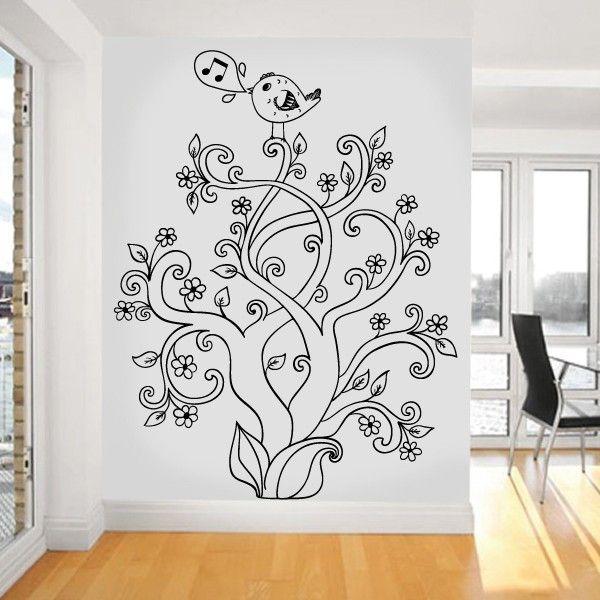 Árvore floral Entrelaçada -vinil autocolante decorativo de parede