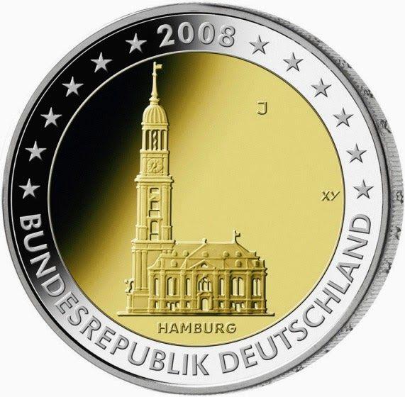 2 euro Germany 2008, St. Michaelis Church in Hamburg