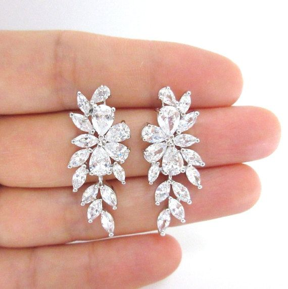 Bridal Crystal Earrings Wedding Jewelry Cubic Zirconia