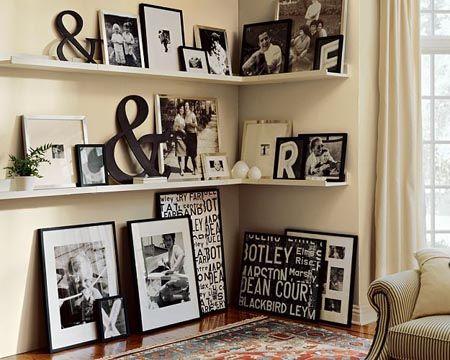 shelving: Photo Display, Decor Ideas, Black And White, Living Room, Galleries Wall, Photo Wall, Black White, Corner Shelves, Pottery Barn