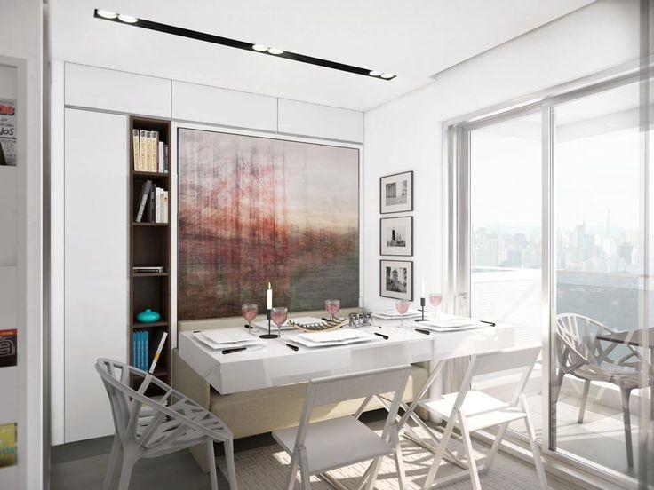 A mesa de centro expansível transforma a sala de estar em espaço de jantar, onde é possível receber até quatro pessoas – duas ficam no sofá....