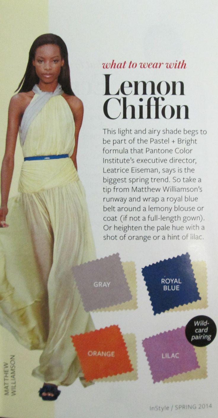 Lemon Chiffon yellow. Pairs with gray, orange royal blue, and lilac lavender