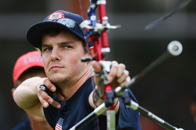 U.S. Men's Archery Team Wins Silver - Archery Slideshows   Jake Kaminski of the United States competes in the Men's Team Archery semi final between the United States and Korea on Day 1 of the London 2012 Olympic Games.  (Photo: Paul Gillham / Getty Images) #NBCOlympics