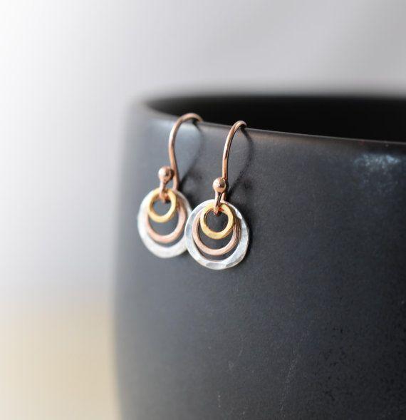 Rose Gold Earrings, Sterling Silver Gold Earrings, Mini Hoop Earrings, Cute Tiny Mixed Metal Earrings by harmonieandme