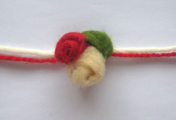 Red Rose White Rose Bracelet - Tradityional Martenitsa, #Handmade of Soft Merino Wool by Mariola