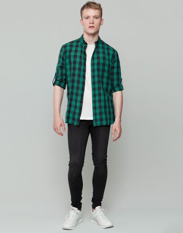 Pull&Bear - hombre - camisas - camisa cuadros dameros - verde - 09471539-I2015