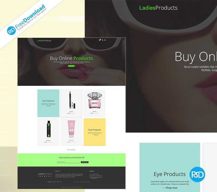 Womens Product Shop Template Psd Free Download. You can use Beauty Product, Electronic Proudct, any type of products, all of our editable Template Psd. Fully layered based PSD document. Layered PSD file you can easily change texts, content, images, objects and color. We would like to present to your attention our new Womens Product Shop Template Psd.