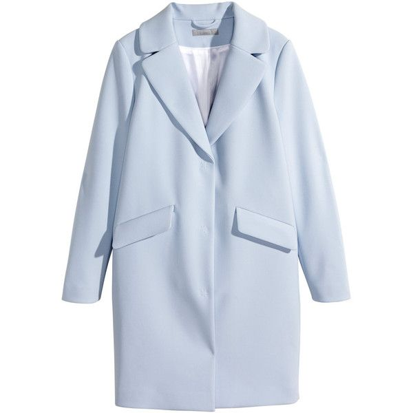 H&M Coat ($38) ❤ liked on Polyvore featuring outerwear, coats, jackets, coats & jackets, h&m, light blue, blue coat and h&m coats