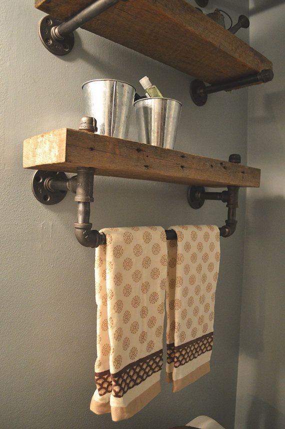 Industrial bathroom shelf with built in towel rack