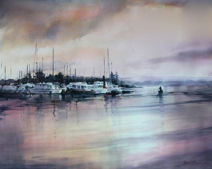 """Harbor Rest"" by Peggy Burkosky - 2015 Ikki Kai National Art Museum Tokyo submission - active member National Ikki Kai Painting Society & Ranki Kai division"