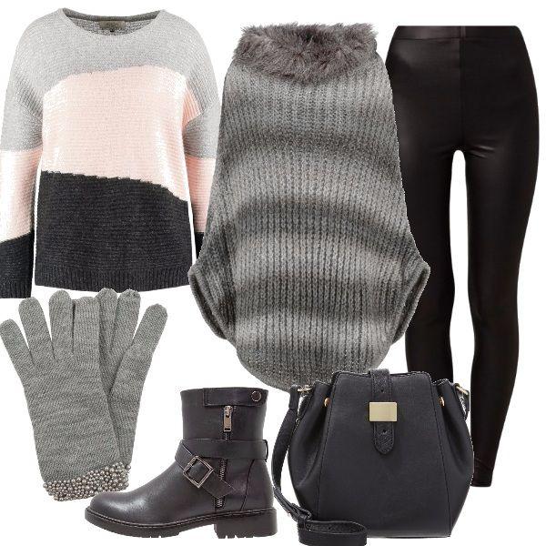 Cosa+c'è+di+meglio+se+non+indossare+i+guanti,+per+i+primi+freddi+invernali,+molto+chic+color+grey+melange+abbinati+a+un+maglione+cream+tan,+e+a+un+leggings+di+pelle+nero,+mantella+magnet+con+collo+alto,+stivaletti+black,+borsa+a+tracolla+black.