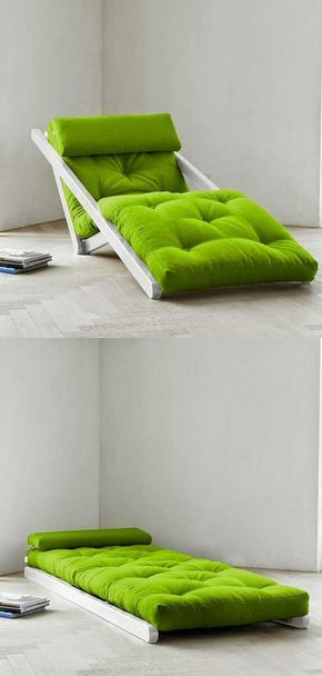 several pieces of furniture which collapse in unusual ways to save space