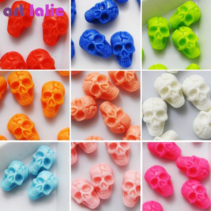 20 Pcs Nail Art 3D Skull Bone Design Resin Beads Nail Tips DIY Gel Nail Art Tips Decoration