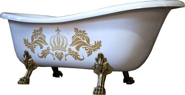 Pompöös by Casa Padrino Luxus Badewanne Deluxe freistehend von Harald Glööckler Weiß / Gold / Weiß 1695mm mit goldfarbenen Löwenfüssen Freistehende Badewannen & Badezimmer Möbel Badewannen