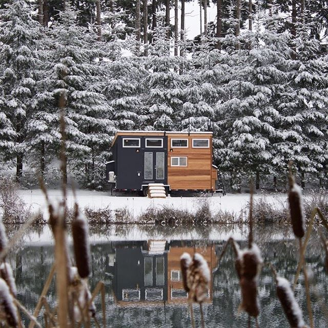 This tiny home is anything but miniscule. Cedar accents