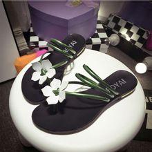 2016 Zomer Koreaanse Vrouwen Platte Clip Sandalen Slippers wit Sandalen Bruiloft Rubberen Zool Hoge Kwaliteit Pu Vrouwelijke Zomer schoenen(China (Mainland))