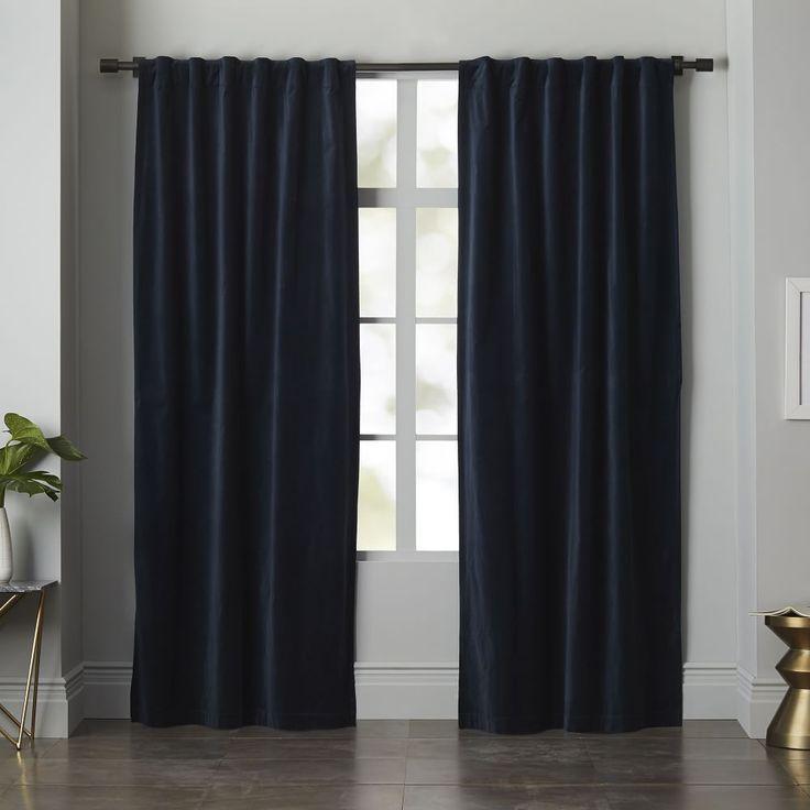 Velvet Pole Pocket Curtain   Regal Blue. Navy Blue CurtainsBlue ...
