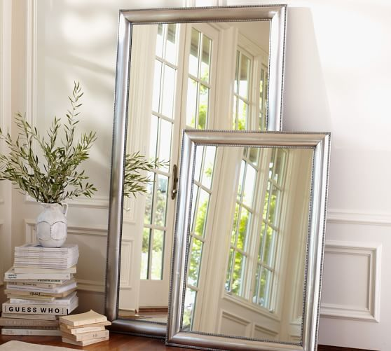"""Silver Beaded Floor Mirror 