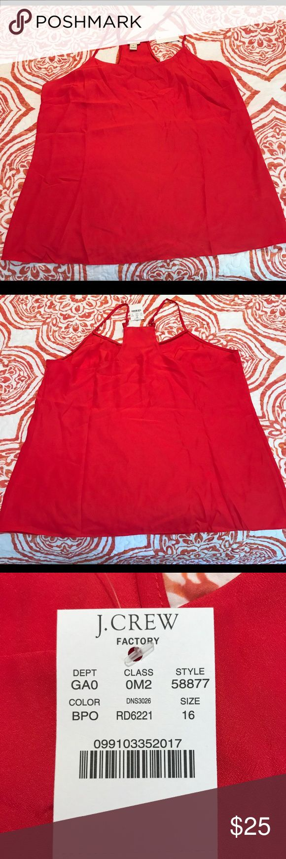 J. Crew Racerback Top - Size 16 Beautiful geranium red polyester tank with racerback. Perfect for the office under a cardigan or blazer! Brand new with tags. J. Crew Tops Tank Tops