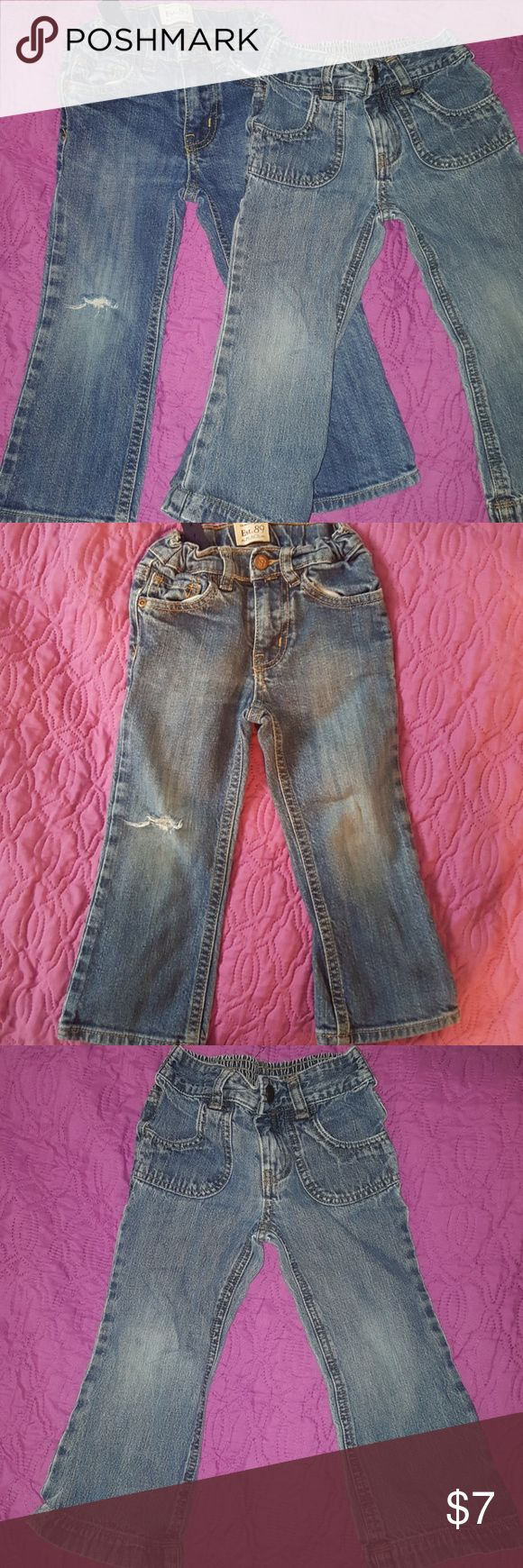 2 pair of girls 3t jeans Both have wear at knee  Cherokee brand with pockets in the front  Children's Place has hole on one knee, shown in pic Children's Place Bottoms Jeans