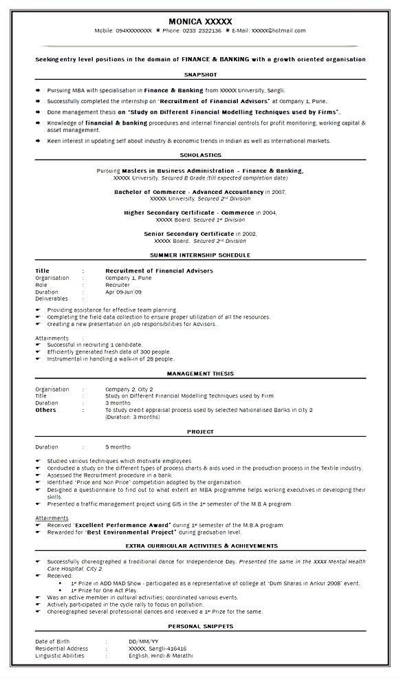 best best resume format mba finance experience sle Resume Sample