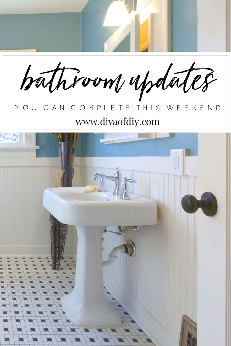 What colors would you choose for your bathroom update? http://divaofdiy.com/upcycled-bathroom-ideas/?utm_campaign=coschedule&utm_source=pinterest&utm_medium=Diva%20of%20DIY%20%7C%20Tutorials%20For%20Your%20Favorite%20DIY%20Projects&utm_content=4%20DIY%20Bathroom%20Ideas%20that%20are%20Quick%20and%20Easy