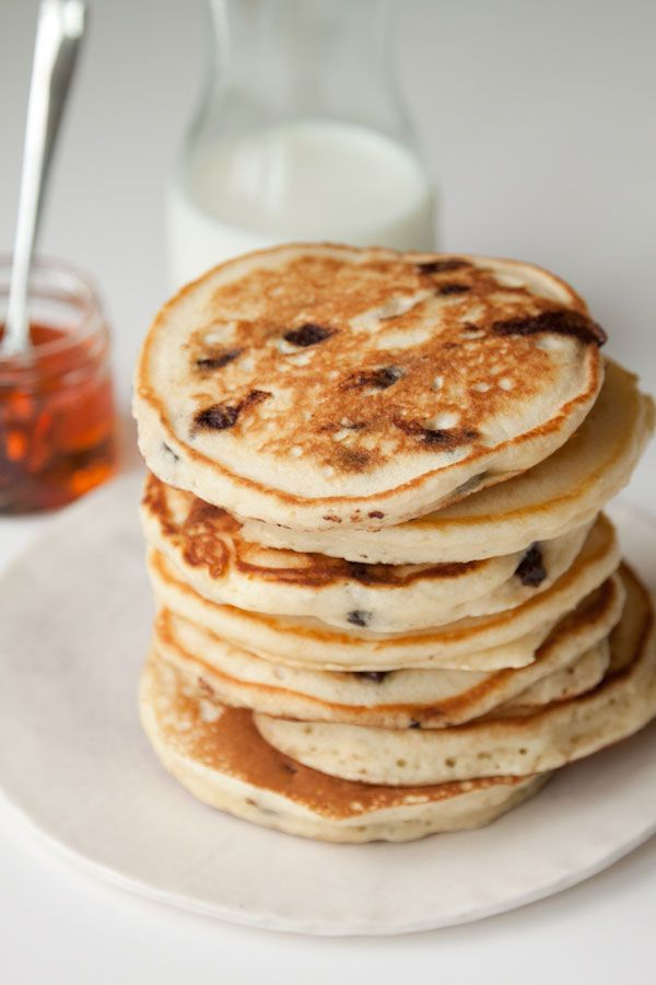Chocolate Chip Sour Cream Pancakes I Makes a thicker, fluffier, creamy, yummy pancake! Good with and without chocolate chips and would be good with blueberries, too.