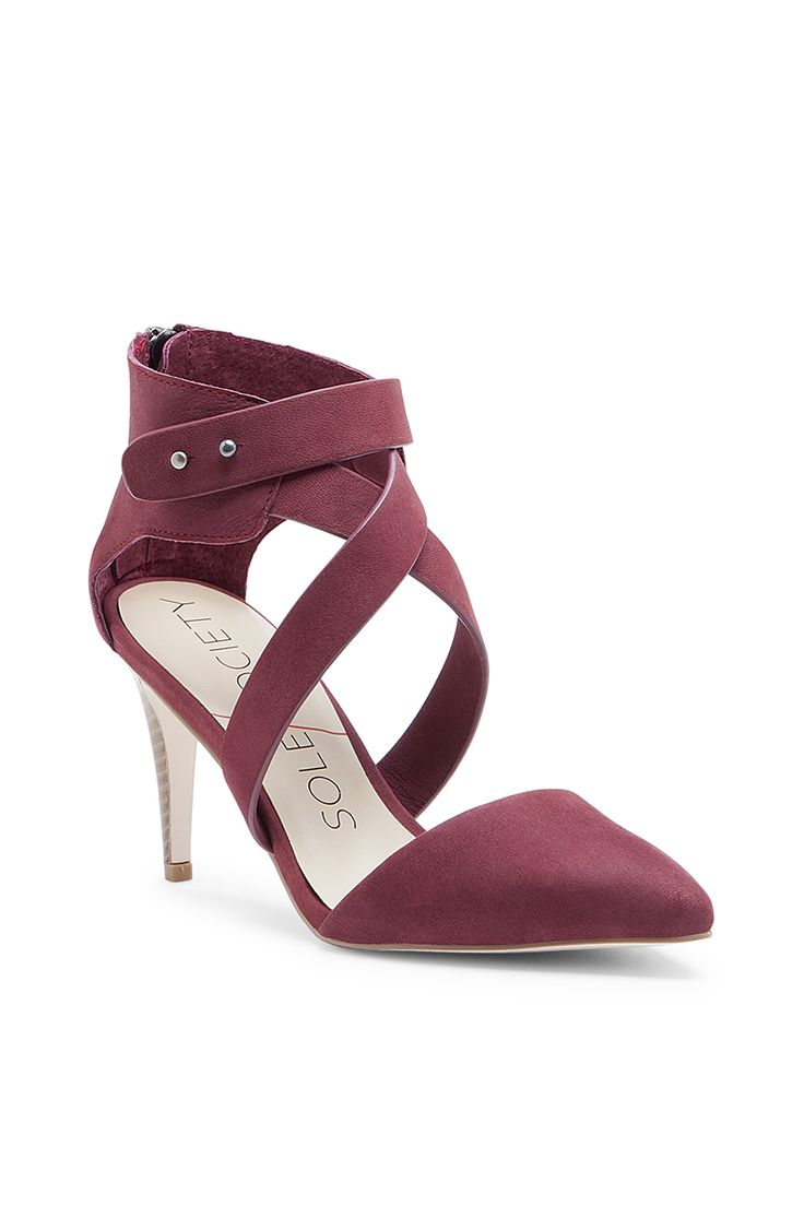 Chic, flattering red pumps made from luxuriously soft nubuck leather | Sole Society Tina