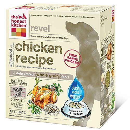The Honest Kitchen Revel Organic Whole Grain Dog Food - Natural Human Grade Dehydrated Dog Food, Chicken, 2 lbs (Makes 8 lbs) - ABOUT REVEL DEHYDRATED DOG FOOD: For hounds—and humans—on a budget. Revel is a hearty recipe for the picky, the pregnant and the puppy-alike. With free-range chicken, simple garden produce and organic whole grain barley, each bite is unbelievably tasty (this we know, because we taste it all ourse...