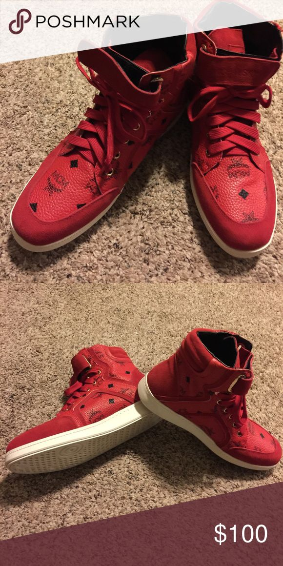 MCM Red Shoes, leather and suede, Never been worn. This stylish pair of MCM shoes will go well with your sports wear. MCM Shoes Sneakers