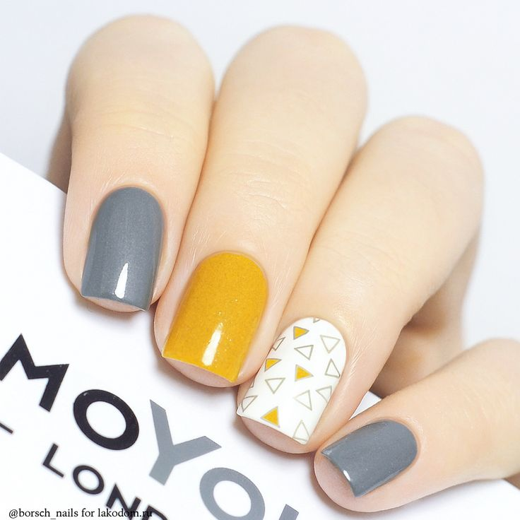 #grey #yellow #cute #nails #nailart