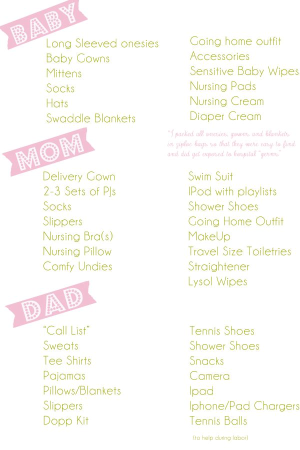 A very detailed delivery hospital bag checklist from Mallory! A great resource for every mama!