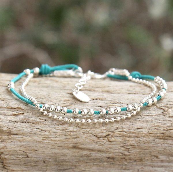bracelet cordon au choix perles et chaine boule argent massif 925 de la boutique foryoujewels sur Etsy