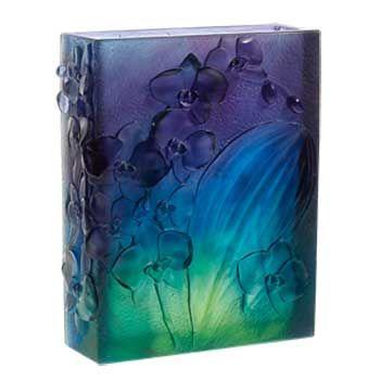 Orchidée Vase bleu nuit, Daum