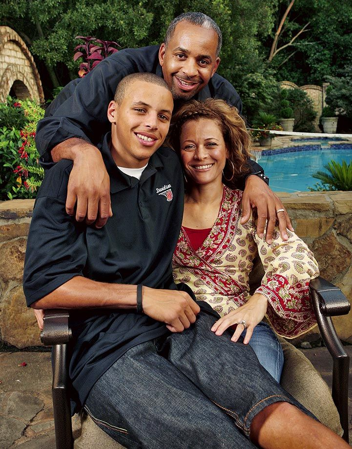 Stephen Curry poses with his parents, Dell and Sonya, on Aug. 28, 2008 at their home in Charlotte, N.C. After leading Golden State to a franchise-record 67 wins and the franchise's first NBA...