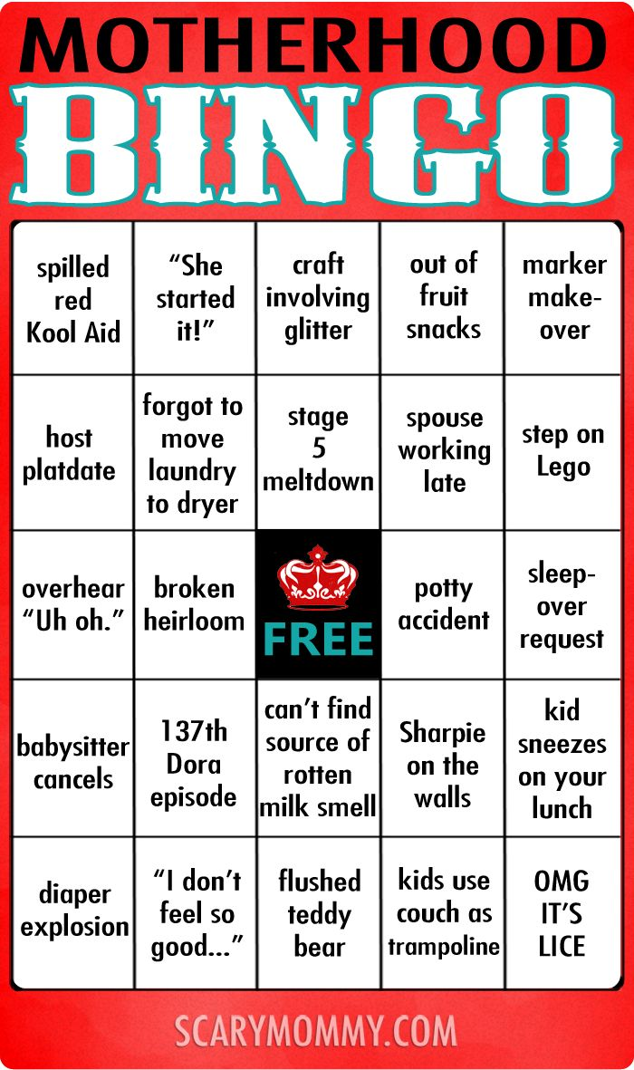 Motherhood Bingo via Scary Mommy | parenting humor | funny games for moms