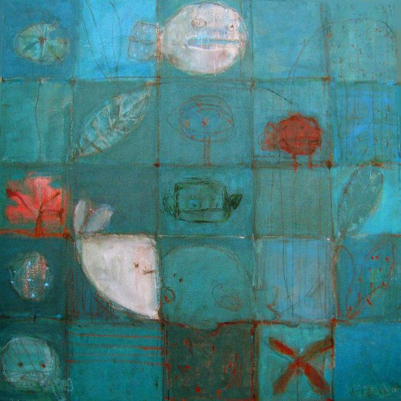 Turquoise With Fish/ Acrylic Painting/ by AnnaKozlowskaLuc on Etsy