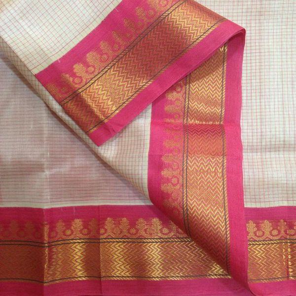 Buy SC7300009-VARNAM Handwoven Korvai Silkcotton-offwhite pink-small checks, 700g online - Handwoven Kanchivarams,Soft Silks, Silk Cottons and Tussars!