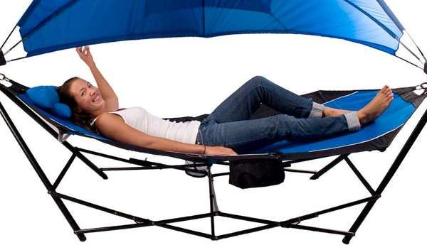 Portable Cooler Hammocks - The Kijaro Hammock with Stand Includes a Detachable Canopy (GALLERY)